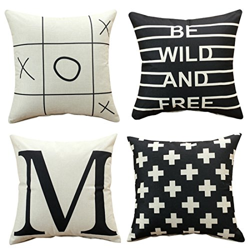 Sunday Praise Set of 4,Cotton-Linen Decorative Throw Pillow Covers Simple Geometric&English Letters Design Accent Handmade 18x18 Inch Square Cushion Cover Pillowcase for Sofa Couch Bed ()