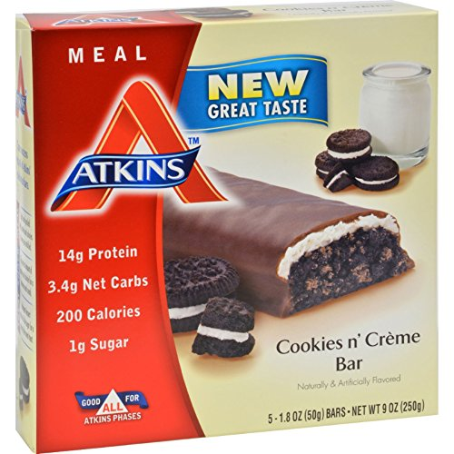Atkins Advantage Bar Cookies n Creme - 5 Bars - 15g Protein - Low Sugar - Low (Atkins Low Carb Cookies)