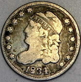 - 1834 P Silver Capped Bust Half Dime Fine
