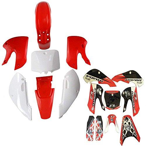 JCMOTO Plastic Body Fenders Fairing Kit and Sticker Decals for Kawasaki KX65 KX 65 Pit Dirt Bike (Red)