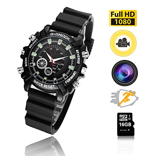 HD 1080P Hidden Watch Camera 16GB Wrist Smart Watch Camera HD 1080P Infrared Night Vision High-end Camera by GOTT BOUDK