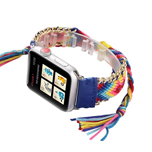 SUKEQ For Apple Watch Bands 42mm, Colorful Rope Hand knit Weave Replacement Strap Adjustable Sport Wristband Rainbow Bracelet For Apple Watch Series 1/2/3 42mm (Deep Blue) ()