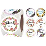 PMCDS2G Thank You Stickers Roll Six Floral Designs 1.5inch 500 Units in One Set for Gift Decor Thank You Cards