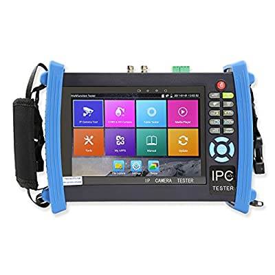 Wsdcam 7 Inch Retina Display IP Camera Tester CCTV Tester CVBS Analog Tester with POE/IP discovery/Rapid ONVIF/WIFI/8G TF Card/4K H.265/HDMI In&Out/RJ45 TDR/Dual Window Test/Firmware Update 8600 Plus