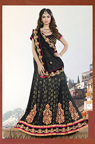 Da Facioun Womens Black Striking Lehenga Choli With Embroidery Work 80143
