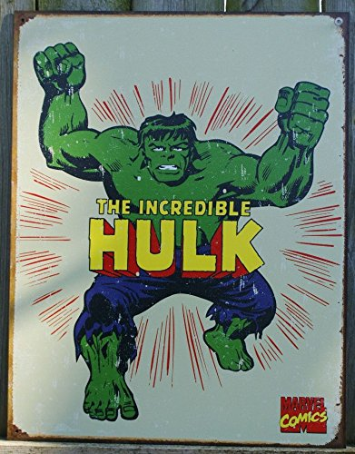 Fountain Tin Sign (The Incredible Hulk Tin Sign 12 x 16in)