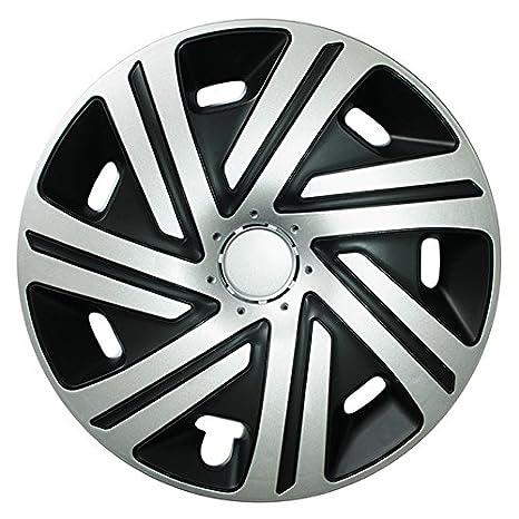 (tamaño a elegir) Tapacubos/Cyrkon Tapacubos negro/plata apta para casi todos