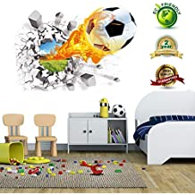 Soccer Wall Decals for Bedroom 3D Soccer Wall Stickers for Boys Rooms Soccer Wall Décor Stickers Removable Vinyl Sports Decal Wall Murals Decoration Nursery Christmas Birthday Gifts(Soccer Wall Decal)