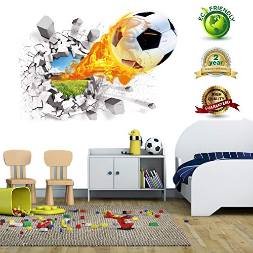 Soccer Wall Decals for Bedroom 3D Soccer Wall Stickers for Boys Rooms Soccer Wall Décor Stickers Removable Vinyl Sports Decal Wall Murals Decoration Nursery Christmas Birthday Gifts(Soccer Wall Decal) ()