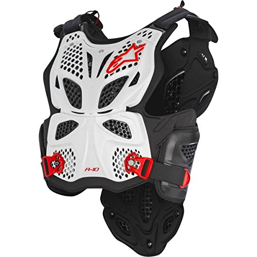 Alpinestars A-10 Full Men's Chest Protector Off-Road Body Armor - White/Black/Red / Medium/Large by Alpinestars