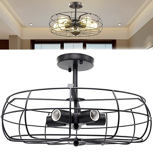 Industrial Vintage Lighting Ceiling Chandelier 5 Lights Semi Flush Mount Oil Rubbed Bronze Light Fixtures Fan Style Rustic Pendant Lamp Cage Metal for Hallway Farmhouse Barn Foyer 110v 120v E26 - Bronze Lamps Rubbed Pendant Oil