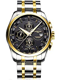 Mens 25 Jewels Automatic Watches with Sapphire Mirror Transparent Back Cover Calendar 24 Hours Black