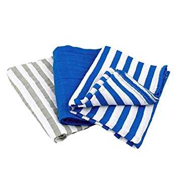 Blue Set green sprouts 3 Piece Muslin Burp Cloths Made from Organic Cotton