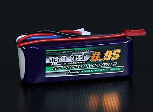 HobbyKing Turnigy nano-tech 950mah 3S 25~50C Lipo Pack / Capacity: 950mAh / Voltage: 3S1P / 3 Cell / 11.1V / Discharge: 25C Constant / 50C Burst / Weight: 69g (including ()