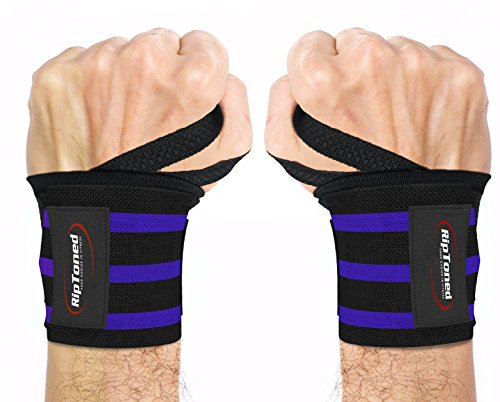 Rip Toned Wrist Wraps 18″ Professional Grade with Thumb Loops – Wrist Support Braces for Men & Women – Weight Lifting, Crossfit, Powerlifting, Strength Training – Bonus Ebook (Blue Stiff) Review