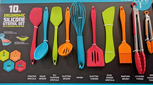 Core Kitchen 10 Piece Silicone Utensil Set in Assorted Colors with Overmold Solid Core