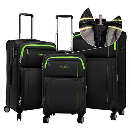 Windtook Expandable Luggage 3 Piece Set Lightweight Suitcase Spinner Sets (Black-YKK+TSA) by WindTook