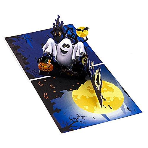 Jerry&Maggie - Pop up Greeting Card | Ghost Halloween Night 3D Cartoon Handmade Paper Envelope Greeting Card]()