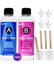 Anti UV Epoxy Resin and Hardener Kit Crystal Clear Easy Cast for DIY Art Craft Resin & Table Top Coating Epoxy, Non Toxic Resin Pour Accessories for Jewelry Tumbler Wood, 16OZ for Starter&Professional