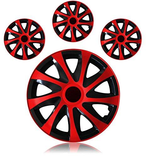 Tapacubos – Tapacubos Tapacubos DRACO bicolor rojo 14 14 pulgadas Opel Kadett D E, Tigra