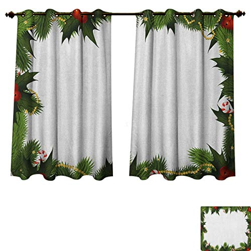 PriceTextile New Year Blackout Curtains Panels for Bedroom Frame Style Garland Pattern Mistletoes Candy Canes and Chain on Fir Tree Motif Room Darkening Curtains Fern Green Red Size W55 xL72