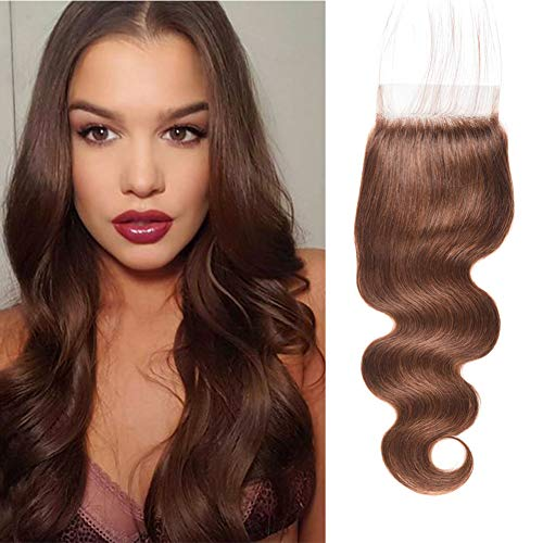 FASHION LADY Hair 4x4 Inch Lace Closure Peruvian Weaves Body Wave Closure One Piece Medium Brown Human Hair Free Part Lace Closure for Sale(#4 Closure 20 Inch)
