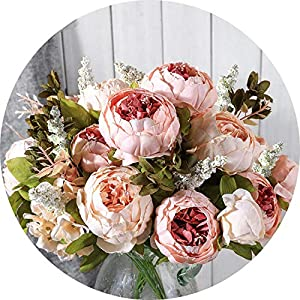 vibe-pleasure Artificial Flowers Wedding Vintage European Peony Wreath Silk Fake Flowers Heads Home Festival Decoration 13 Branches Home 69