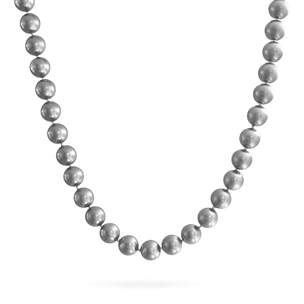 Large Hand Knotted Pale Grey Shell Simulated Pearl Strand Necklace for Women Crystal Ball Clasp 10MM