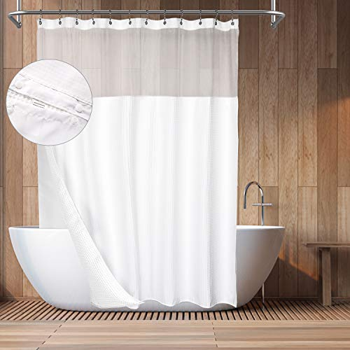 Barossa Design Hotel Style Cotton Shower Curtain with Snap-in Fabric Liner, Mesh Window Top, Honeycomb Waffle Weave Cotton Blend Fabric, Washable, White, 71×72 Inches