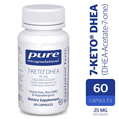 Pure Encapsulations - 7-Keto DHEA (DHEA-Acetate-7-one) 25 mg - Unique DHEA Metabolite - Hypoallergenic Dietary Supplement - 60 Capsules