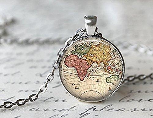 JISTL World Map Necklace, Antique Map Necklace, Globe Necklace (World Globe Necklace)