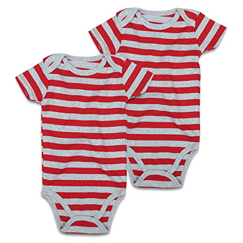 Baby Striped Bodysuit 2-Pack Short-Sleeve for Infant Girls Boys 0-24 months (3-6m, Gray/Red) (Bodysuit Onesie Striped)