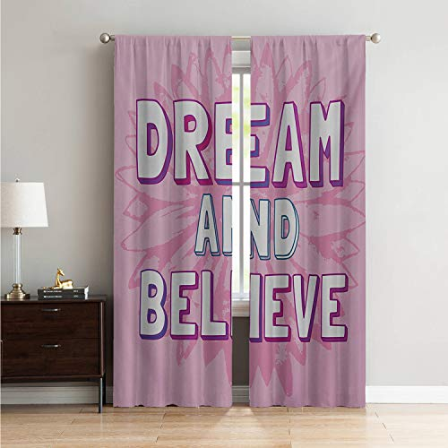 Window for Living Room Curtain Living Room Quote,Dream and Believe Quote on Floral Geometrical Background Motivational Phrase Art,Pink White W96 x L84 Inch