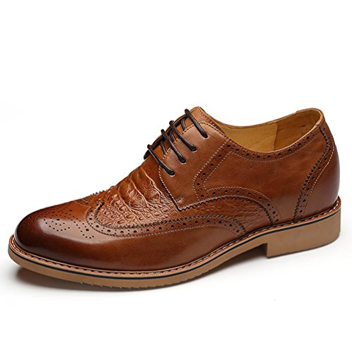 X8865 2.75 Inches Taller Height Increase Elevator Oxford Shoes Cow Leather Lace-up (brown) - 1