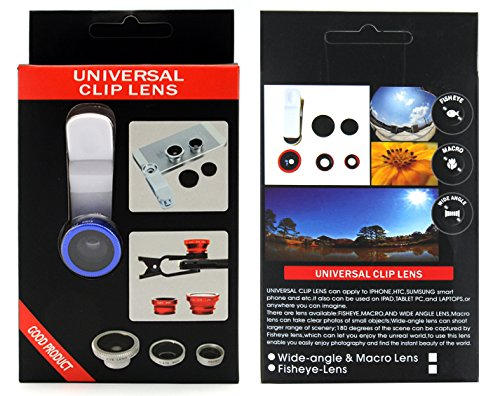 Apexel 3-in-1 Universal Clip 180 Degree Fish Eye +0.67x Wide Angle & Macro Lens for iPhone/iPad/Smartphone - Blue