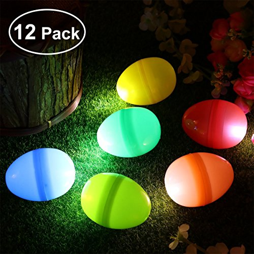 iBaseToy Glow Eggs with Mini Lamps, Glow Easter Eggs, Easter Decorations for Easter Party, Glow in Dark Easter Eggs for Boys and Girls, Glowing Colorful Plastic Surprise Eggs Easter Egg -
