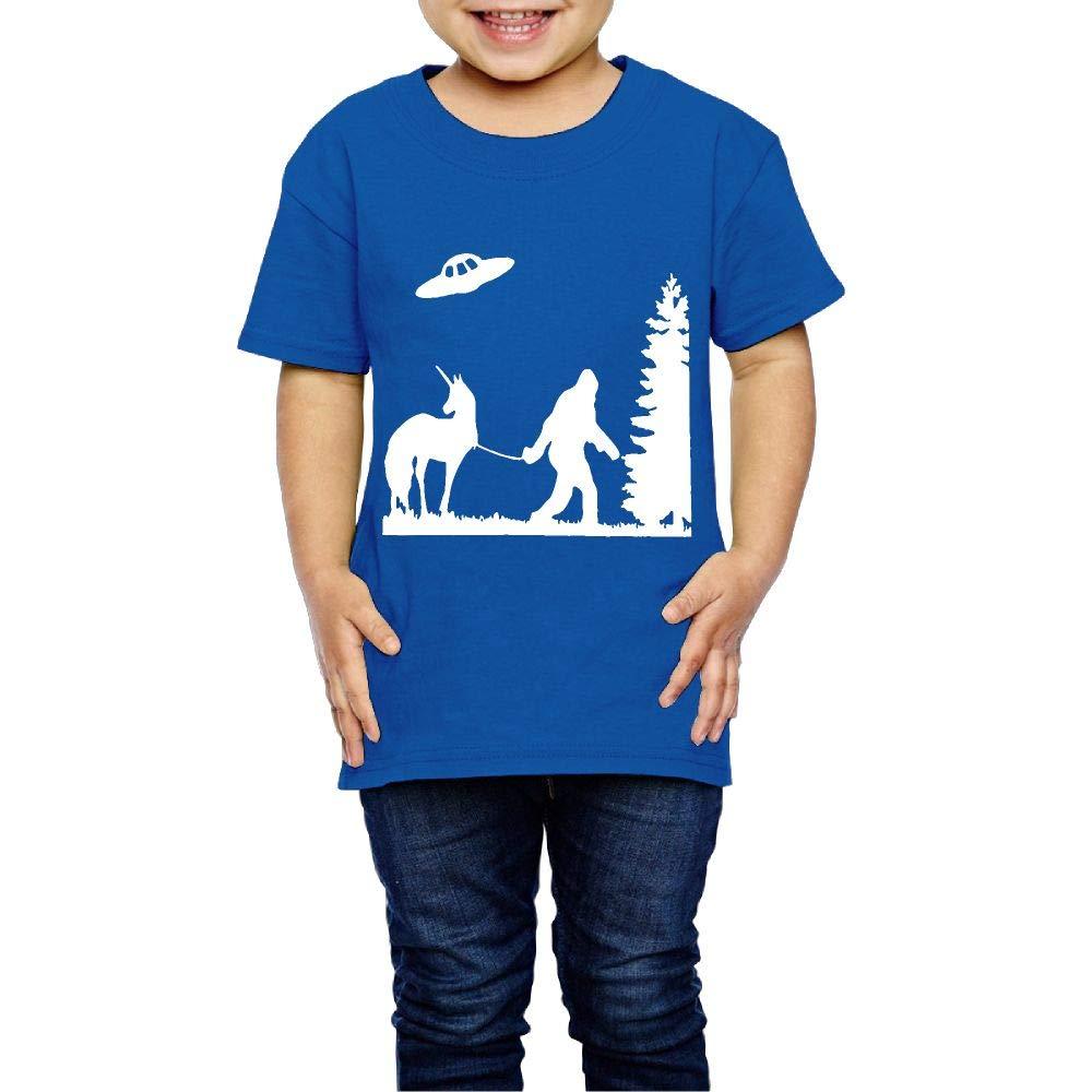 Bigfoot Leading A Unicorn with UFO 2-6 Years Old Boys /& Girls Short-Sleeved Tshirt