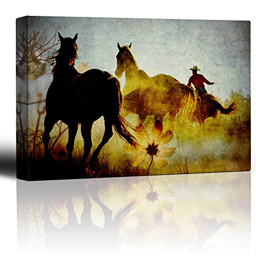 - wall26 - Roping Mustangs - Wild Horses and Rancher on The Range - Rustic Canvas Grain - Country Art Collection - Canvas Art Home Decor - 16x24 inches