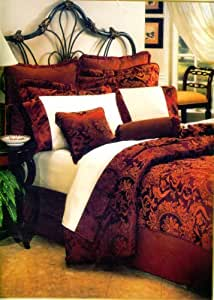 8 Pc Luxury Super Set, Mystic Wine Burgundy Red / Gold Woven Jacquard Comforter Set / Bed in Bag - Queen Size Bedding + 600 Thread Count Cotton Sheet Set