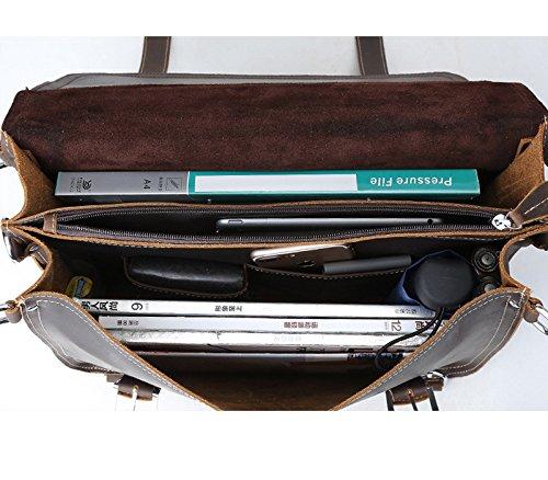 [DigiRole] Men's Genuine Cowhide Leather Messenger Laptop Briefcase Shoulder Bag for Men | Professional Business Travel | Fit 15.6 inch Laptop