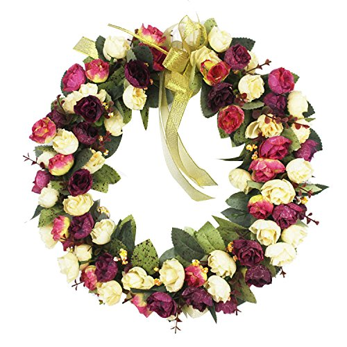 CHICHIC Rose Wreath Artificial Flower Blossom Garland, Floral Wreaths Flowers Arrangements, 14 Inch, Spring Front Door Decor Home Office Wall Wedding Decoration Year Round Display, White & Pink (Rose Blossom Round)