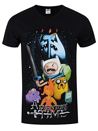 Adventure Time Herren T-Shirt Filmposter schwarz. Offiziell lizenziert