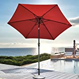 Cheap YOURLUITE 9-Feet Outdoor Round Patio Umbrella – Waterproof Polyester Canopy with Push Button Tilt and Crank, Aluminum Mental Pole, for Beach,Gardens,Patio and Market, Burgundy