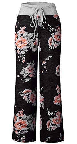 AMiERY Pajamas for Women Women's High Waist Casual Floral Print Drawstring Wide Leg Palazzo Pants Lounge Pajama Pants (Tag XL (US 10), Black)