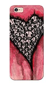 New Zkmbqu-2074-ktynerc Skull Hearts Skin Case Cover Shatterproof Case For Iphone 6 Plus
