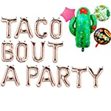 Rose&Wood Taco Bout A Party Foil Balloons Letter Balloons,Fiesta Birthday,Fiesta Bridal Shower,Fiesta Wedding,Fiesta Baby Shower,16'',Rose Gold