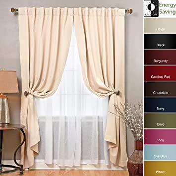 Amazon.com: Blackout and Sheer 83-inch Curtain 4-piece Panel Set ...