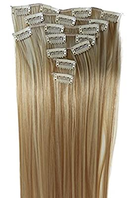 """PRETTYSHOP 24"""" 120g Set 7pcs Full Head Clip In Hair Extensions Hairpiece Straight Heat-Resisting Diverse Colors"""