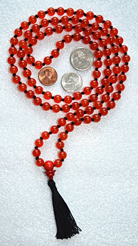 - 8 mm RED JADE AGATE Prayer Beads HANDKNOTTED Japa Mala With GOLDSTONE Guru Bead. Karma 108+1 Beads-Energized Nirvana Meditation Rosary For Awakening Chakras Kundalini - USA SELLER