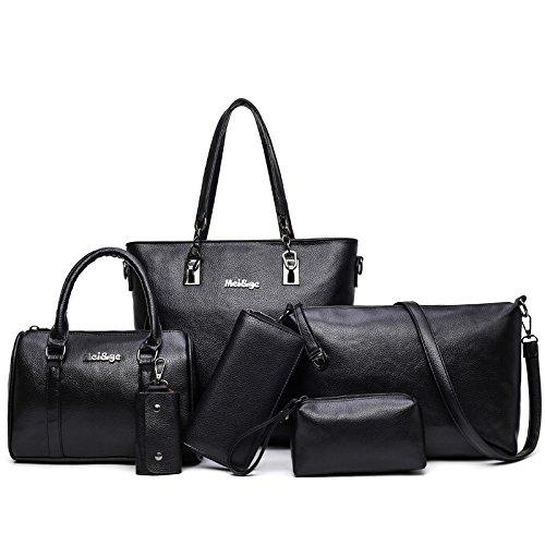 La nueva tendencia de paquete compuesto bolso Ladies todos-match única bolsa bolso bolso de mano femenina de seis piezas, gris black